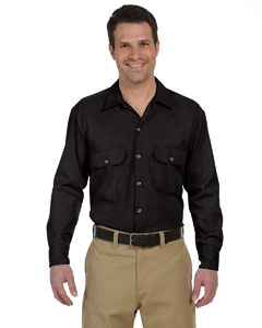 Black Men's 5.25 oz. Long-Sleeve Work Shirt