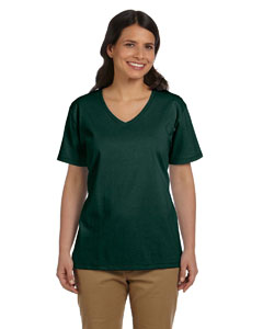 Deep Forest Women's 5.2 oz. ComfortSoft® V-Neck Cotton T-Shirt