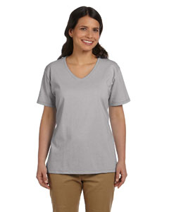 Light Steel Women's 5.2 oz. ComfortSoft® V-Neck Cotton T-Shirt