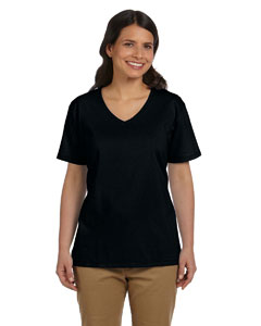 Black Women's 5.2 oz. ComfortSoft® V-Neck Cotton T-Shirt