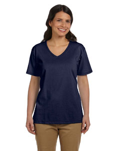 Deep Navy Women's 5.2 oz. ComfortSoft® V-Neck Cotton T-Shirt