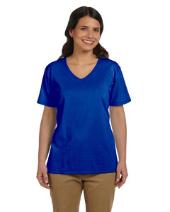 Deep Royal Women's 5.2 oz. ComfortSoft® V-Neck Cotton T-Shirt