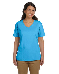Aquatic Blue Women's 5.2 oz. ComfortSoft® V-Neck Cotton T-Shirt