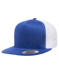 Royal/ White Adult 5-Panel Classic Trucker Cap