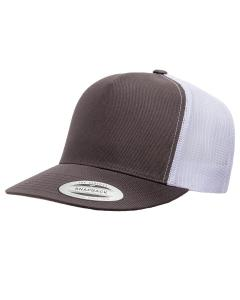 Charcoal/ White Adult 5-Panel Classic Trucker Cap