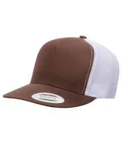 Brown/ White Adult 5-Panel Classic Trucker Cap