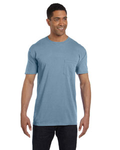 Ice Blue 6.1 oz. Garment-Dyed Pocket T-Shirt