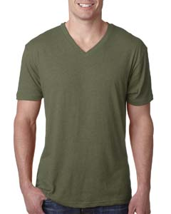 Military Green Men's Triblend V-Neck Tee