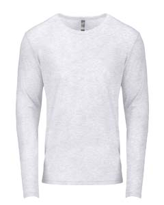 Heather White Men's Triblend Long-Sleeve Crew Tee