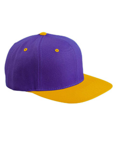 Purple/gold 6-Panel Structured Flat Visor Classic Snapback