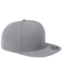 Silver 6-Panel Structured Flat Visor Classic Snapback