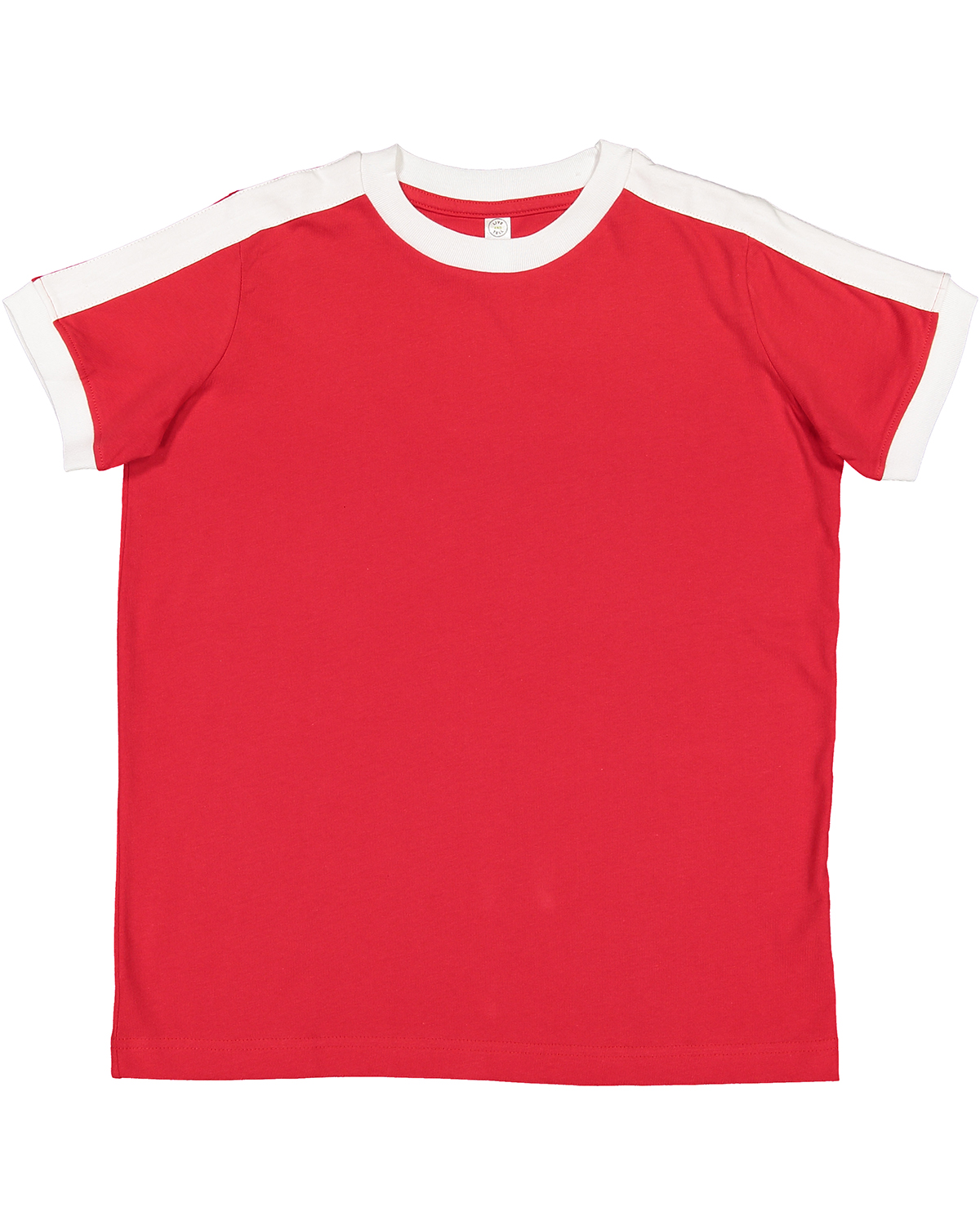 Red/ White Youth Soccer Ringer Fine Jersey T-Shirt