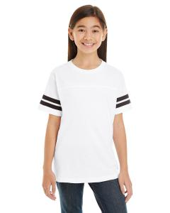 White/ Black Youth Football Fine Jersey T-Shirt