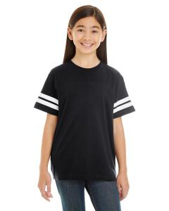 Black/ White Youth Football Fine Jersey T-Shirt