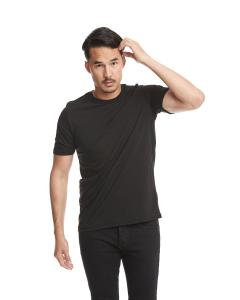 Black Men's Poly/Cotton Short-Sleeve Crew Tee