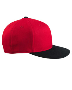 Red/black 210 Fitted Flat Visor Cap