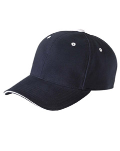 Navy/white Brushed Cotton Twill 6-Panel Mid-Profile Sandwich Cap