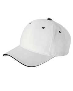 White/black Brushed Cotton Twill 6-Panel Mid-Profile Sandwich Cap