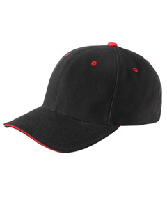 Black/red Brushed Cotton Twill 6-Panel Mid-Profile Sandwich Cap
