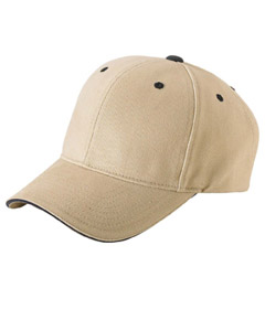 Khaki/navy Brushed Cotton Twill 6-Panel Mid-Profile Sandwich Cap