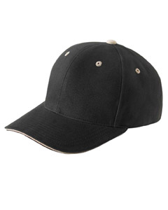 Black/khaki Brushed Cotton Twill 6-Panel Mid-Profile Sandwich Cap