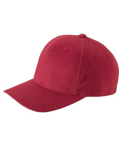 Red Brushed Cotton Twill Mid-Profile Cap