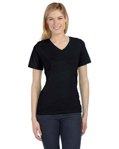 Black Missy Jersey Short-Sleeve V-Neck T-Shirt