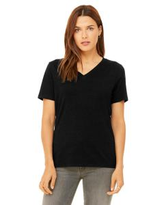 Black Heather Missy Jersey Short-Sleeve V-Neck T-Shirt