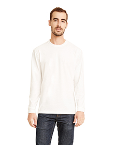 White Unisex Sueded Long-Sleeve Crew