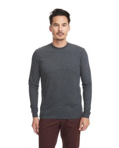 Heather Charcoal Unisex Sueded Long-Sleeve Crew