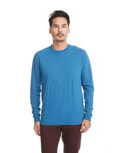 Heather Cool Blu Unisex Sueded Long-Sleeve Crew