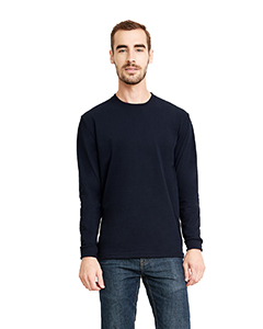 Midnight Navy Unisex Sueded Long-Sleeve Crew