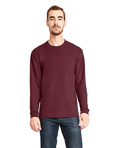 Heather Maroon Unisex Sueded Long-Sleeve Crew