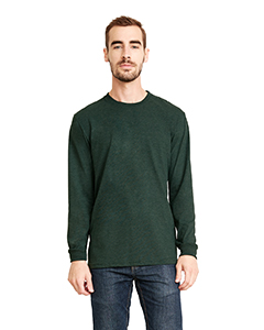 Hthr Forest Grn Unisex Sueded Long-Sleeve Crew
