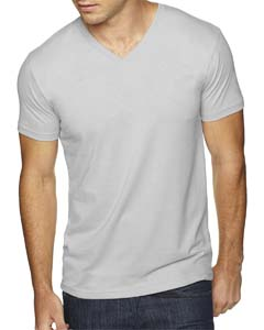 Light Gray Men's Premium Fitted Sueded V-Neck Tee