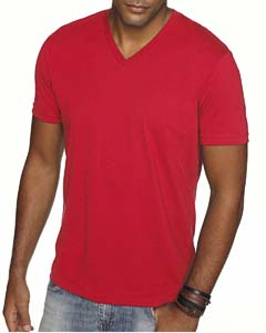 Red Men's Premium Fitted Sueded V-Neck Tee