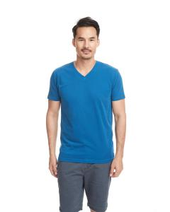 Turquoise Men's Premium Fitted Sueded V-Neck Tee