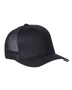 Black 6-Panel Trucker Cap