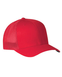Red 6-Panel Trucker Cap
