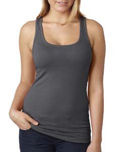 Dark Gray Ladies' Spandex Jersey Racerback Tank