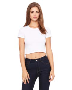 White Ladies' Poly-Cotton Crop T-Shirt