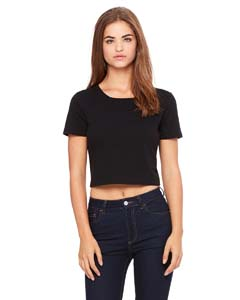 Black Ladies' Poly-Cotton Crop T-Shirt