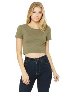 Heather Olive Ladies' Poly-Cotton Crop T-Shirt