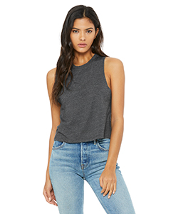 Dark Gry Heather Ladies' Racerback Cropped Tank