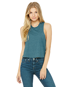 Hthr Deep Teal Ladies' Racerback Cropped Tank