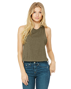 Heather Olive Ladies' Racerback Cropped Tank