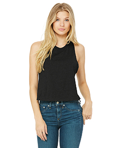 Sld Blk Blend Ladies' Racerback Cropped Tank
