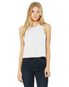 Sld Wht Blend Ladies' Racerback Cropped Tank