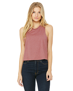Heather Mauve Ladies' Racerback Cropped Tank