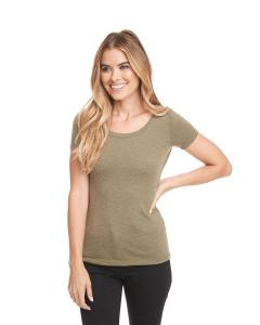 Military Green Ladies Triblend Scoop Tee